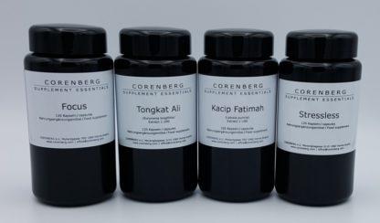 Komplettset aus Focus, Tongkat Ali, Kacip Fatimah und Stressless Kapseln