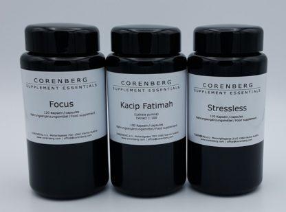 Set aus Focus und Stressless und Kacip Fatimah Kapseln